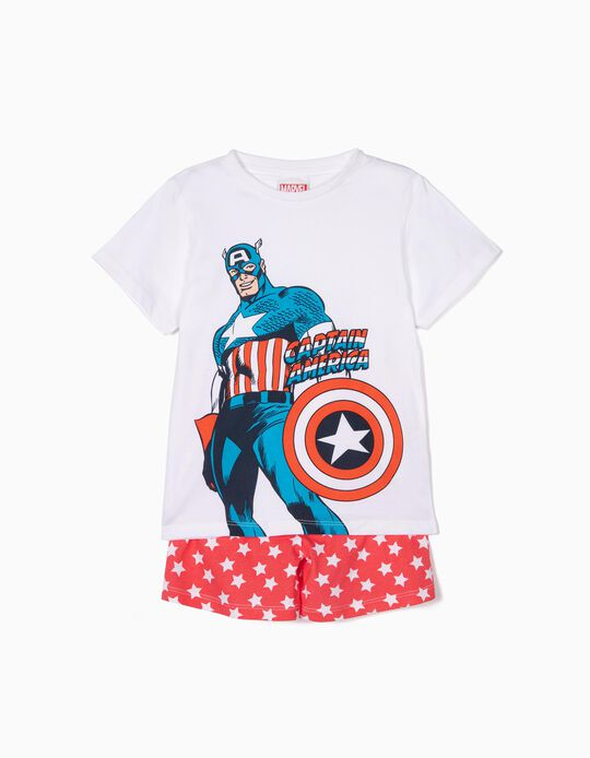 Pijama para Menino 'Captain America', Branco e Vermelho