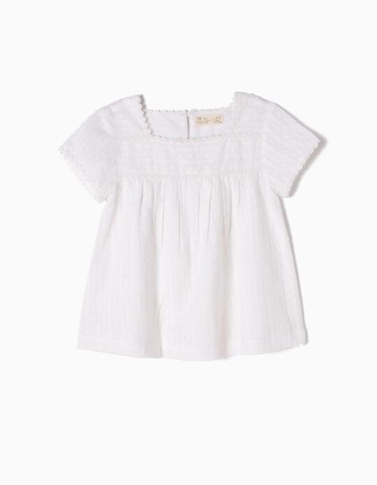 Blusa Blanca Vaporosa Swiss Dot