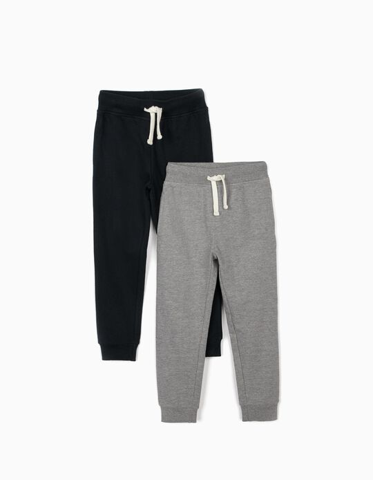 2 Pantalones de Chándal para Niño, Azul Oscuro y Gris