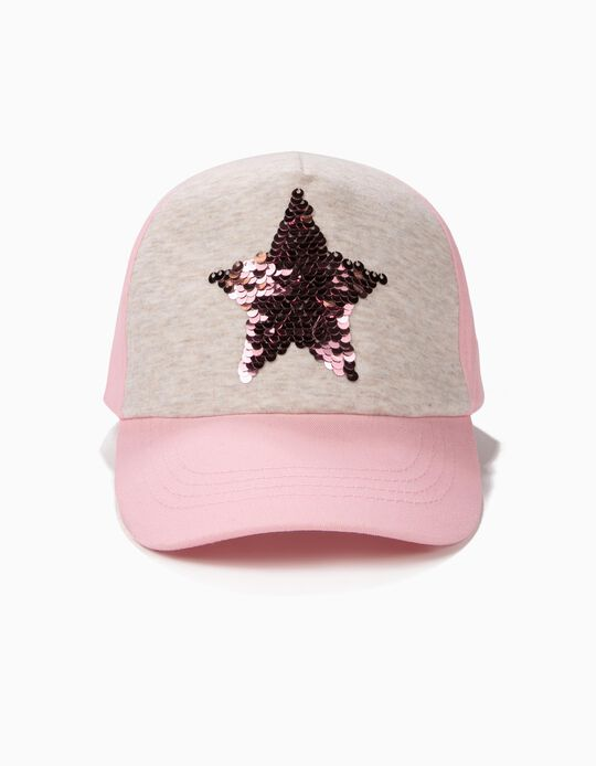 Cap for Girls with Reversible Sequins, Grey and Pink
