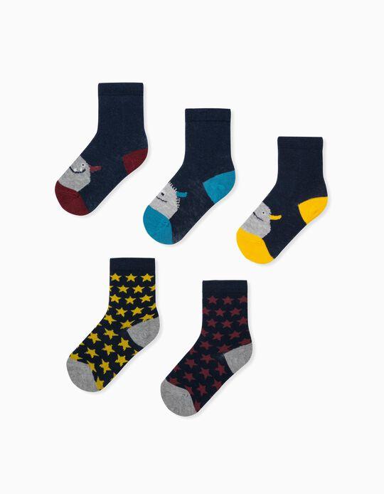 5 paires de chaussettes bébé garçon 'Monsters & Stars', multicolore