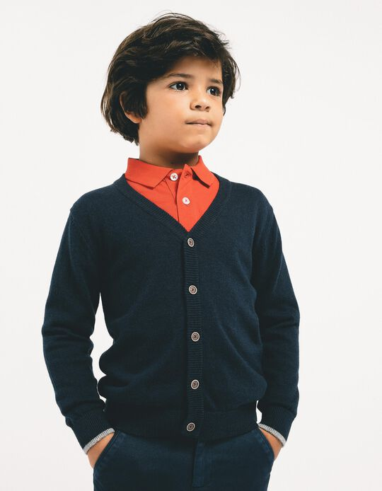 Long-Sleeved Polo Shirt for Boys, Red