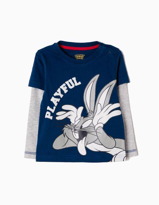 Camiseta de Manga Larga Bugs Bunny Azul