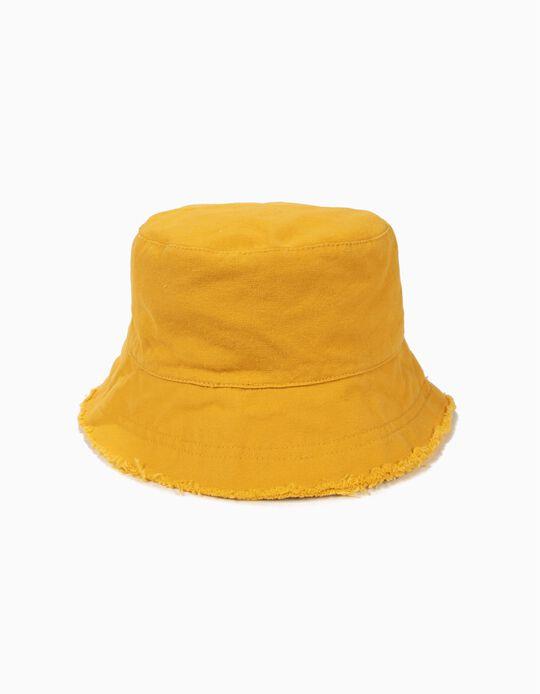 Sombrero para Niña con Solapa Deshilachada, Amarillo Tostado