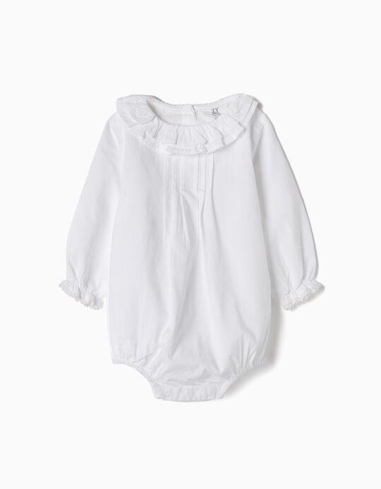 Body Blusa para Recién Nacida 'Volantes y Puntilla', Blanco