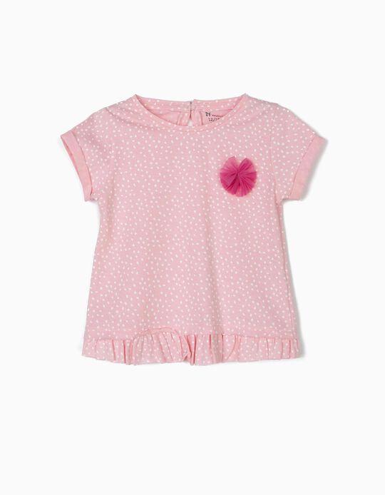 Camiseta para Bebé Niña de 'Lunares', Rosa