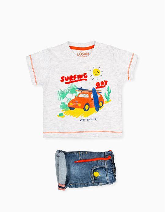 T-shirt e Calções para Bebé Menino LOSAN, Cinza/Azul