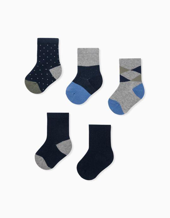 5 paires de chaussettes bébé garçon, gris/bleu/vert