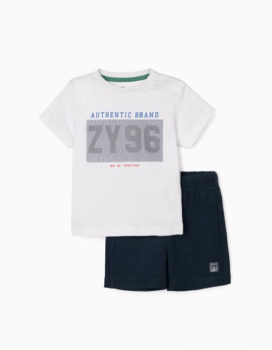 T-shirt & Shorts for Baby Boys, 'ZY 96', White/Dark Blue