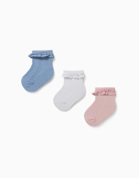3 Pares Calcetines con Encaje para Bebé Niña, Blanco/Azul/Rosa