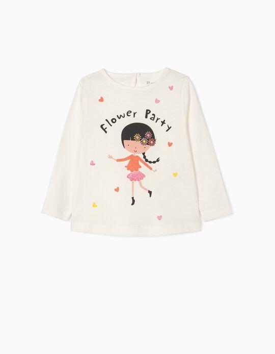 T-shirt Manga Comprida para Bebé Menina 'Flower Party', Branco