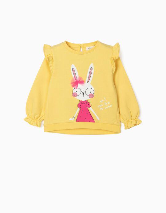 Sweatshirt for Baby Girls, 'So Cute', Yellow