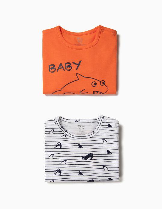 2 Babygrows para Bebé Menino 'Baby Shark', Laranja e Branco