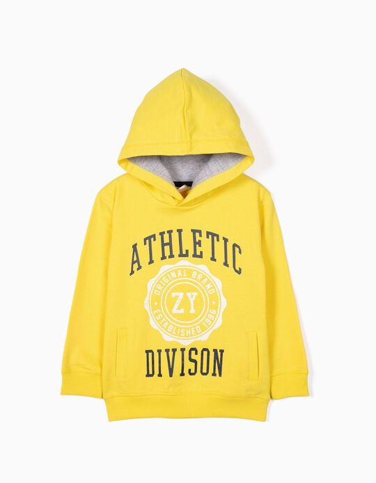 Sweatshirt para Menino 'ZY Athletic Division' com Capuz, Amarelo