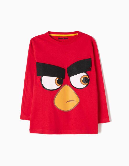 T-shirt Manga Comprida Angry Birds Vermelha