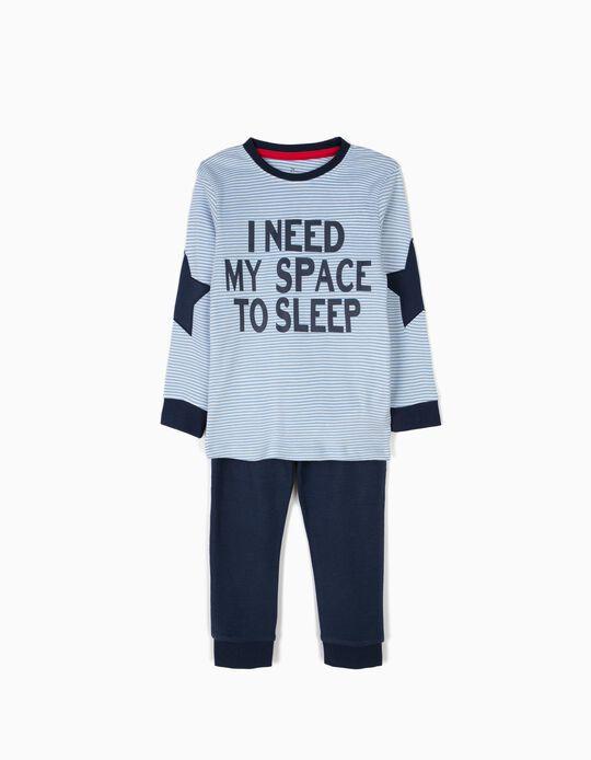 Pijama de Manga larga y Pantalón a Rayas Azules