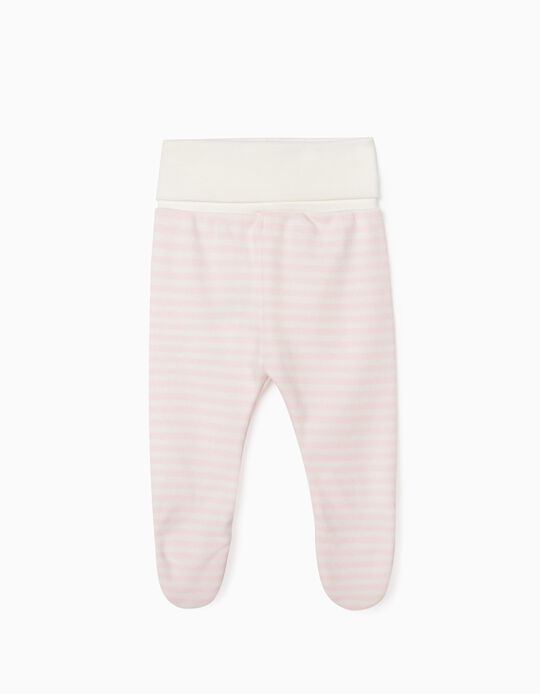 Footed Trousers for Newborn Baby Girls, 'WH', Pink/White