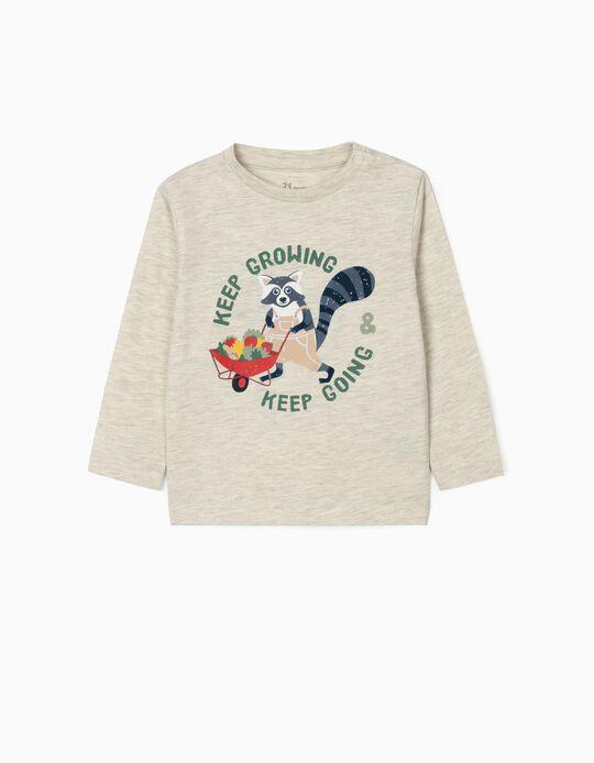 T-shirt Manga Comprida para Bebé Menino 'Keep Growing', Bege Mesclado