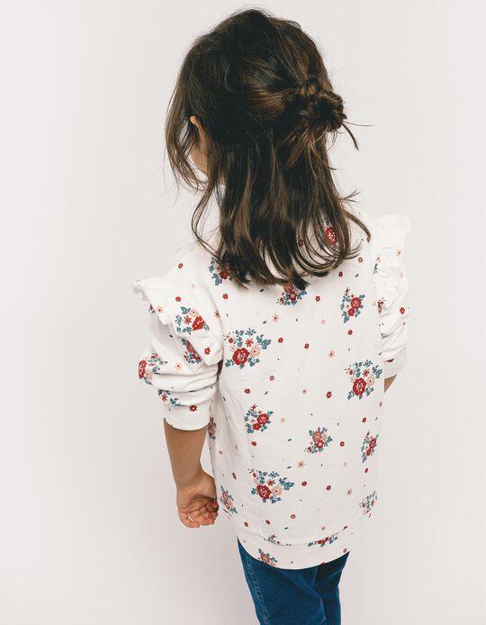 Sweatshirt para Menina 'Flores', Branco