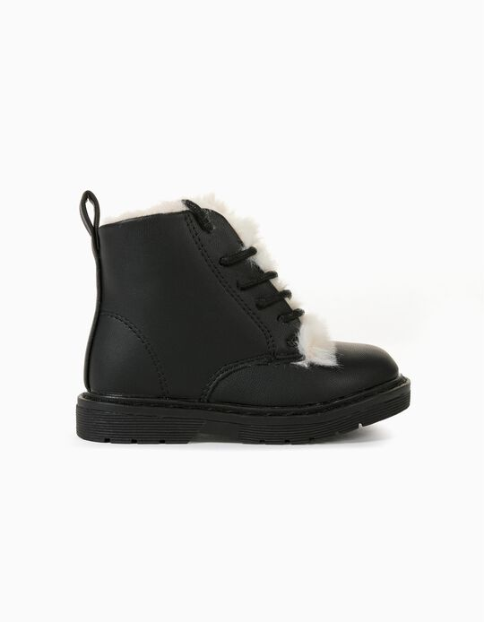 Biker Boots with Fur for Baby Girls, Black