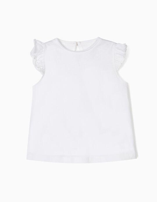 Camiseta para Bebé Niña con Volantes, Blanca