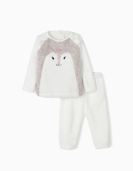 Pijama Coralina para Bebé Niña 'Queen', Gris y Blanco