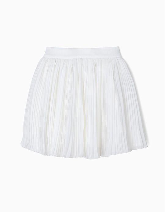 Falda Plisada para Niña, Blanco