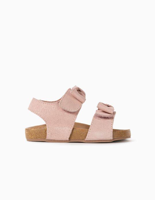 Sandales en daim brillant bébé fille, rose