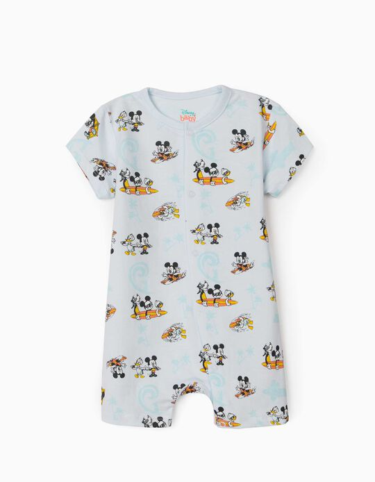 Short Sleeve Sleepsuit for Baby Boys, 'Mickey Mouse & Friends', Light Blue