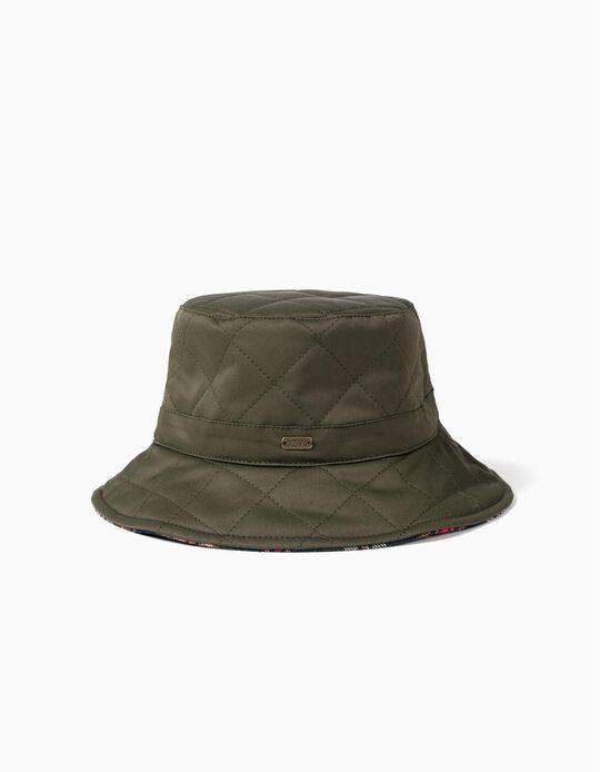 Chapéu Reversível para Criança, Verde/Xadrez