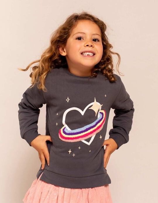 Sweatshirt for Girls, 'Saturn Heart', Dark Grey