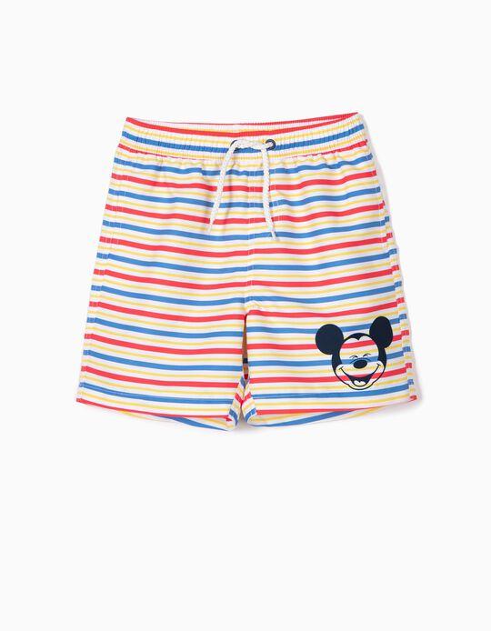 Bañador Short para Niño 'Mickey' a Rayas Antirrayos UV 80, Multicolor