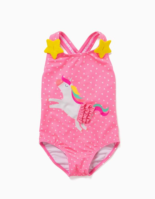 Swimsuit for Baby Girls, UV 80 Protection, 'Unicorn', Pink