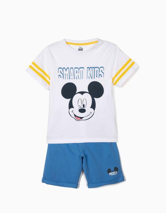 Camiseta y Short para Niño 'Mickey', Blanco y Azul