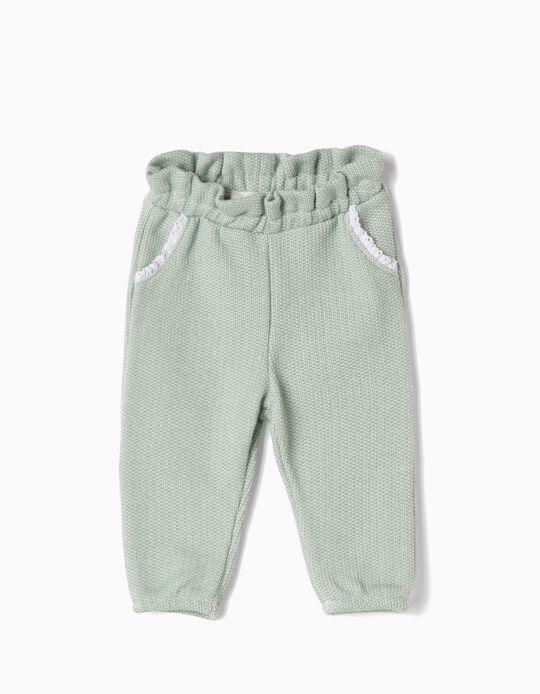 Pantalón de Punto Terry para Recién Nacida, Verde