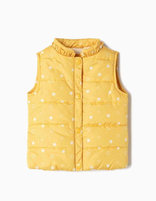 Padded Vest for Baby Girls 'Stars', Yellow