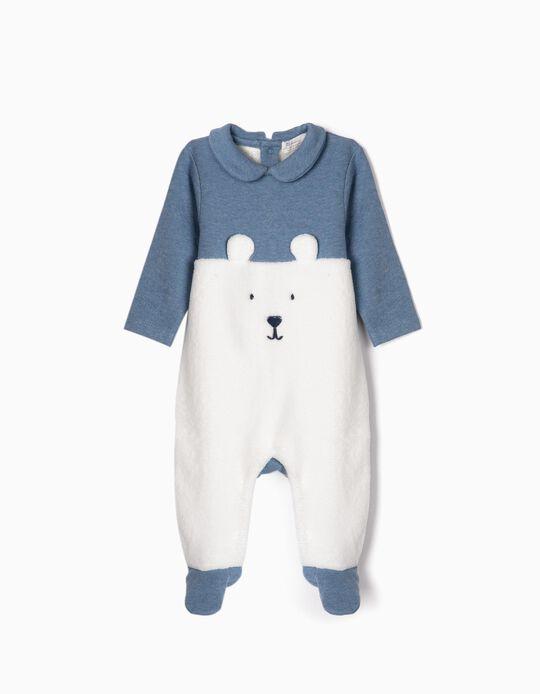 Pelele para Recién Nacida 'Teddy Bear', Azul/Blanco