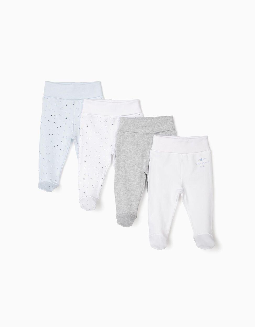 4 Pantalones Con Pies Para Recien Nacido Gris Blanco Y Azul Zy Baby Zippy Online