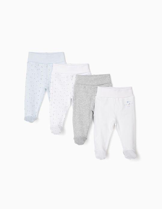 4 Pantalones con Pies para Recién Nacido, Gris/Blanco y Azul