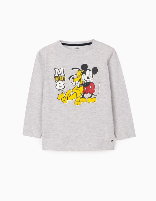 T-shirt manches longues garçon 'Mickey & Pluto', gris