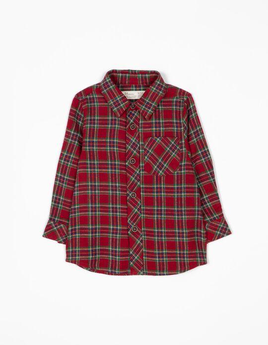 Camisa de Franela estilo Ajedrez Rojo