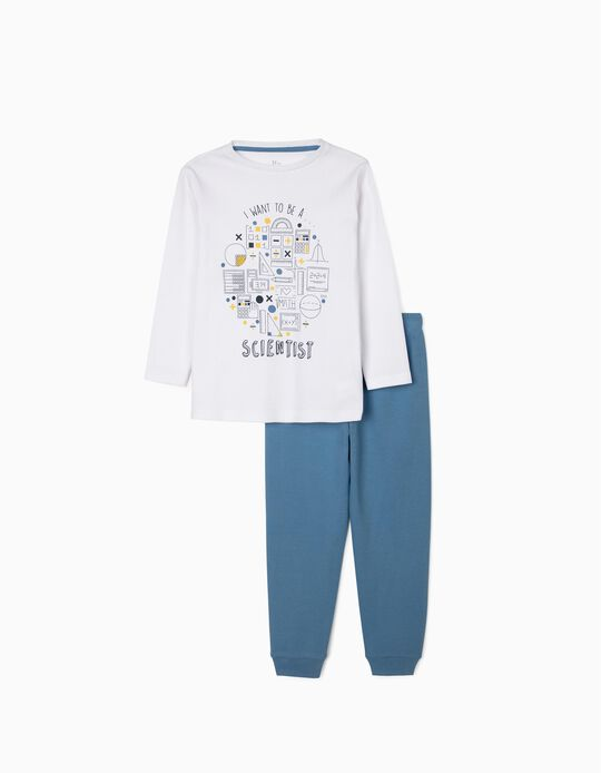 Pyjamas for Baby Boys, 'Scientist', White/Blue