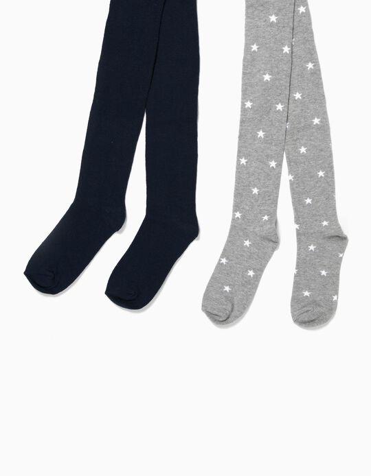 Pack 2 Collants Azuis e Cinzentos Estrelas