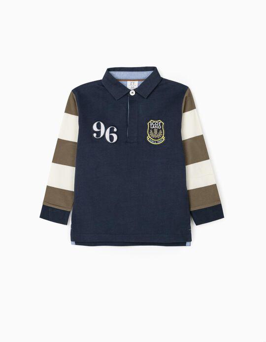 Long Sleeve Polo-Shirt for Boys '96', Blue/White/Green