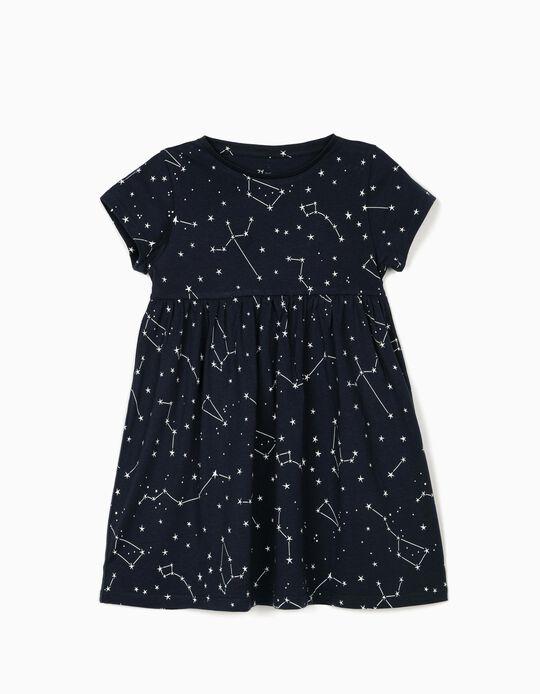 Vestido de Punto para Niña 'Stars', Azul Oscuro