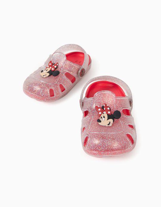 Sandalias Clogs para Bebé Niña 'Minnie, Transparente/Rojo