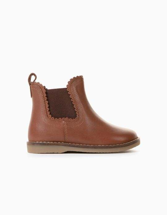 Leather Boots for Baby Girls, Brown