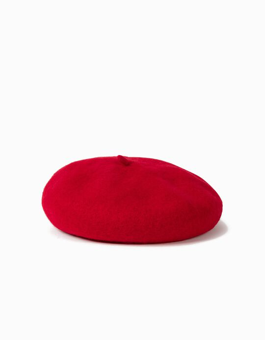 Wool Beret for Girls, Red