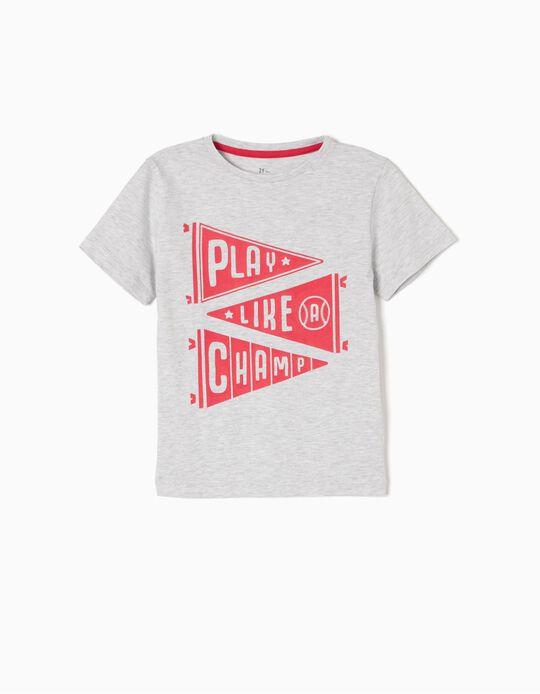 T-shirt Baseball Cinzenta