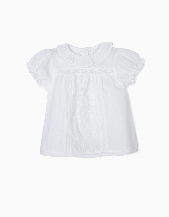 Blusa para Bebé Niña 'B&S' con Bordados y Encaje, Blanca